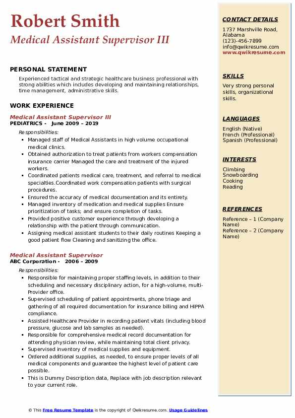 Medical Assistant Supervisor III Resume Format