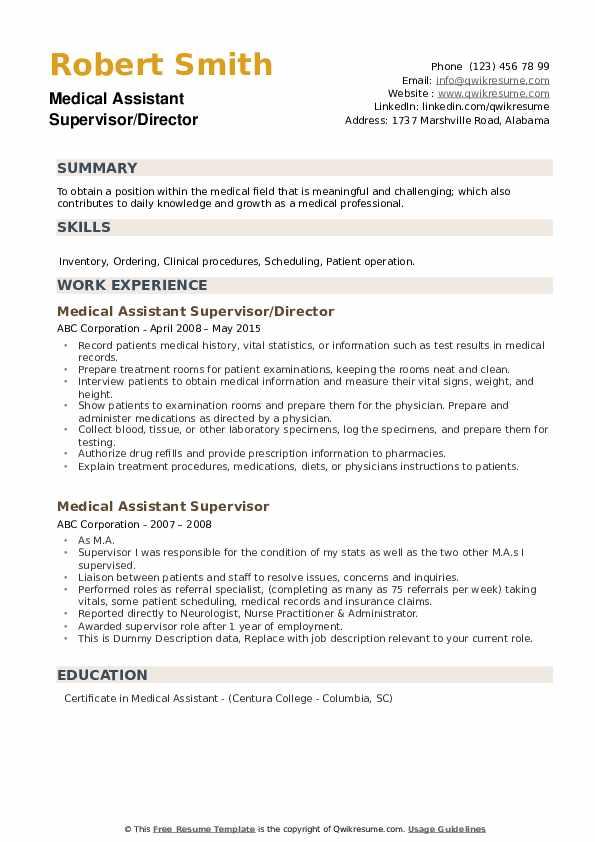Medical Assistant Supervisor/Director Resume Template