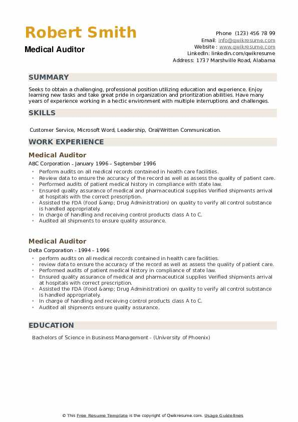 Medical Auditor Resume example