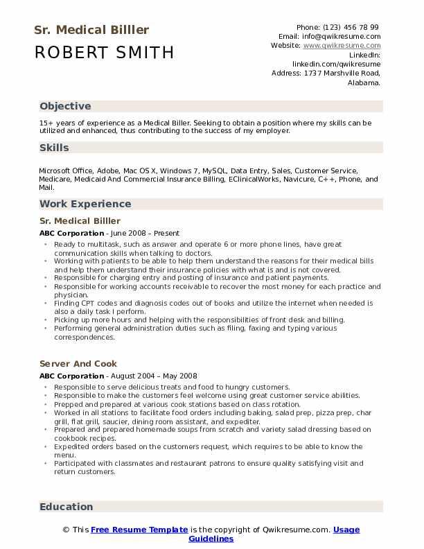 Sr. Medical Billler  Resume Model