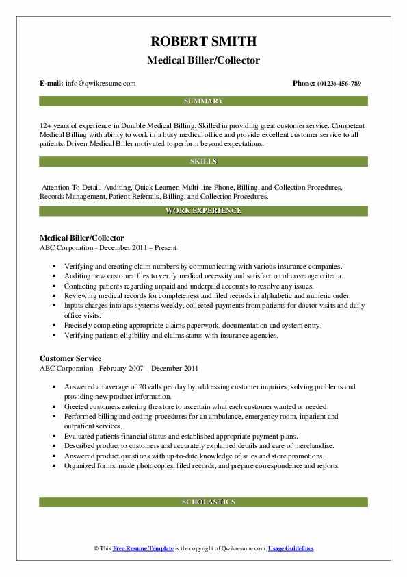Medical Biller/Collector Resume Sample