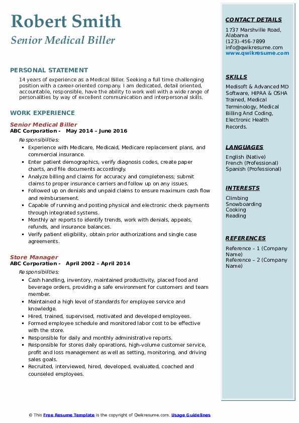 Senior Medical Biller Resume Model