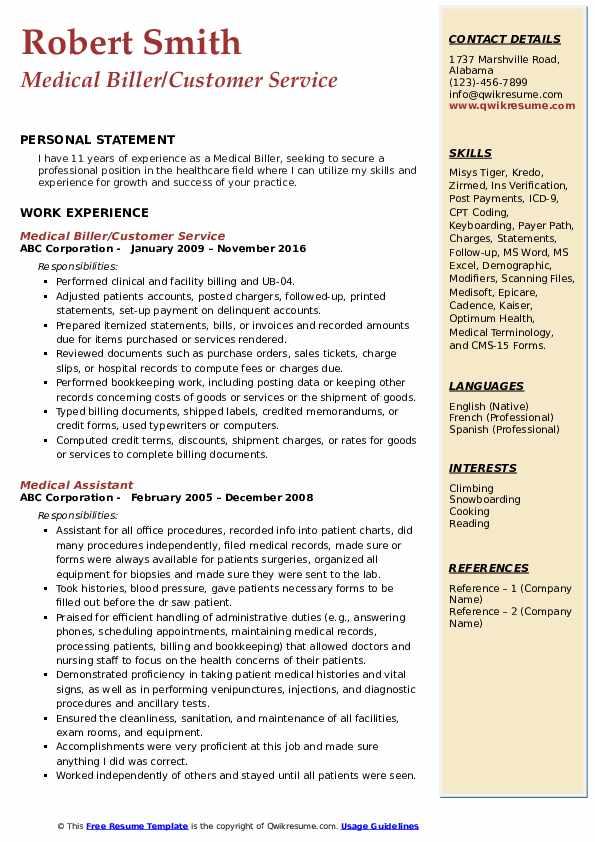Medical Biller/Customer Service Resume Sample