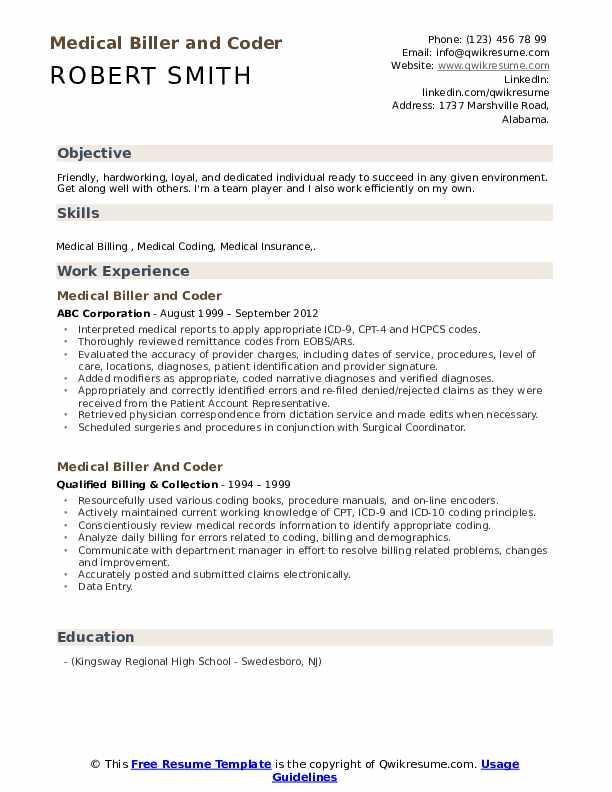 Medical Biller and Coder Resume Example