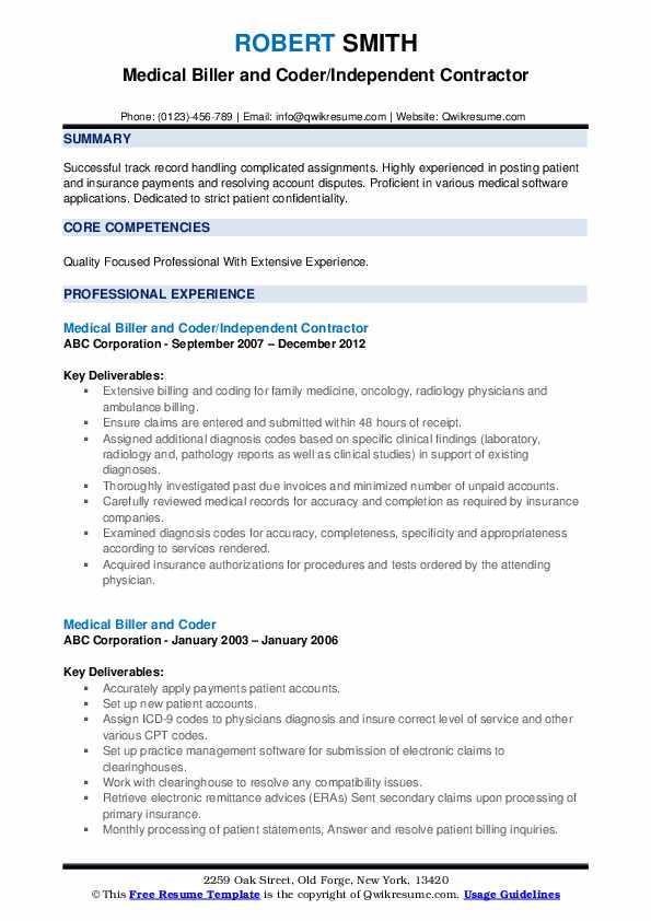 Medical Biller and Coder/Independent Contractor Resume Model