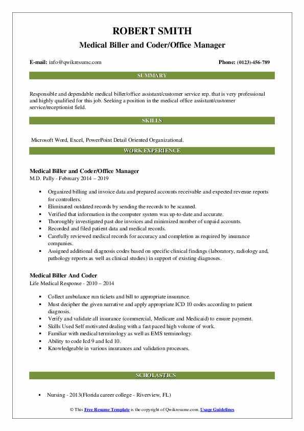 Medical Biller and Coder/Office Manager Resume Format