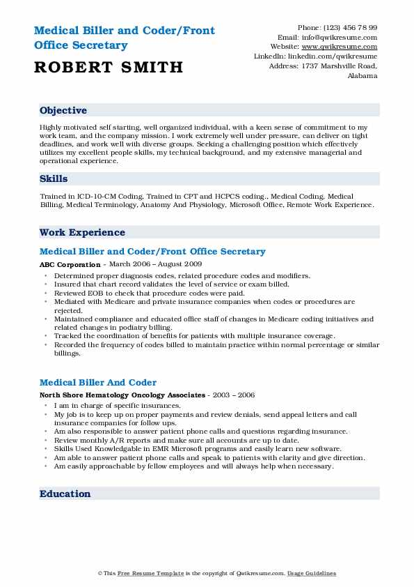 Medical Biller and Coder/Front Office Secretary Resume Example