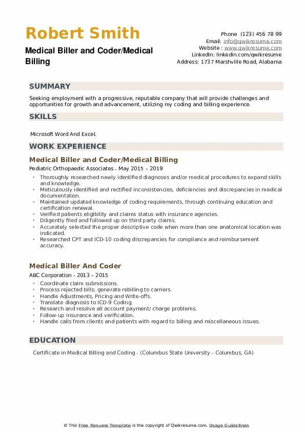 Medical Biller and Coder/Medical Billing Resume Template