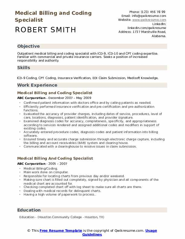 Medical Billing And Coding Specialist Resume Samples