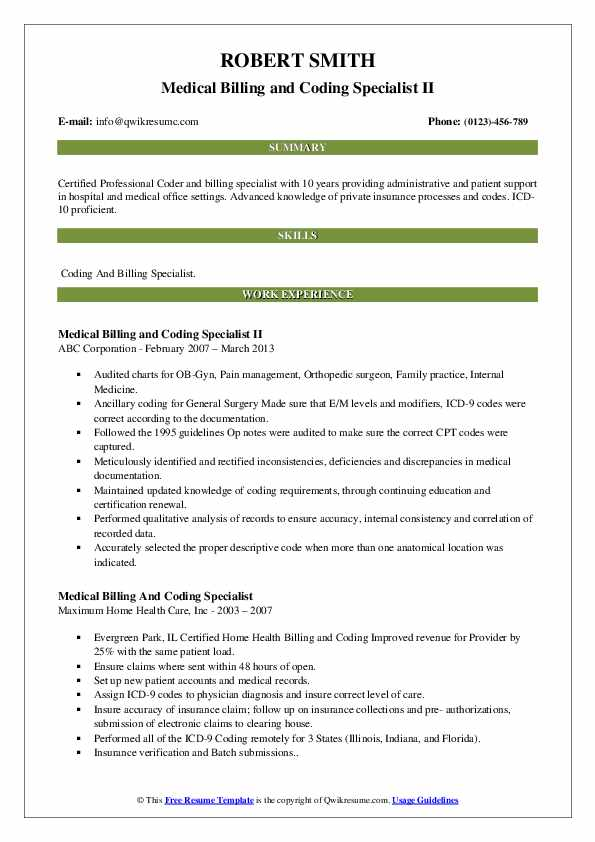 Medical Billing and Coding Specialist II Resume Model