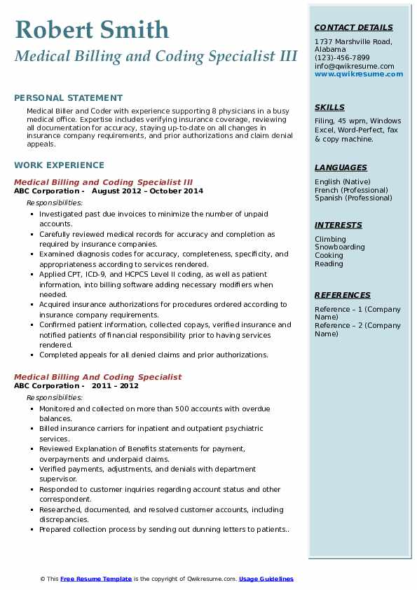 Medical Billing and Coding Specialist III Resume Format
