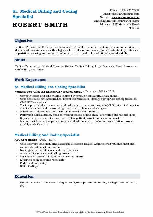 Sr. Medical Billing and Coding Specialist Resume Sample
