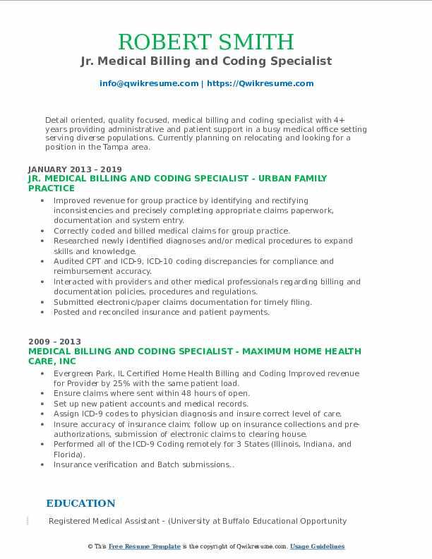 Jr. Medical Billing and Coding Specialist Resume Model