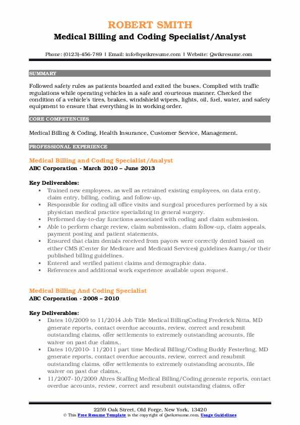 Medical Billing and Coding Specialist/Analyst Resume Sample