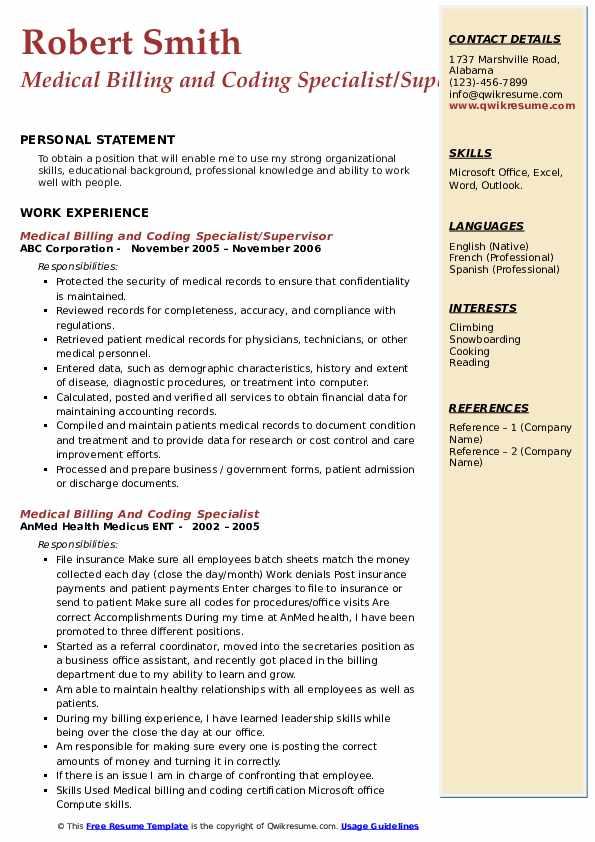 Medical Billing and Coding Specialist/Supervisor Resume Model