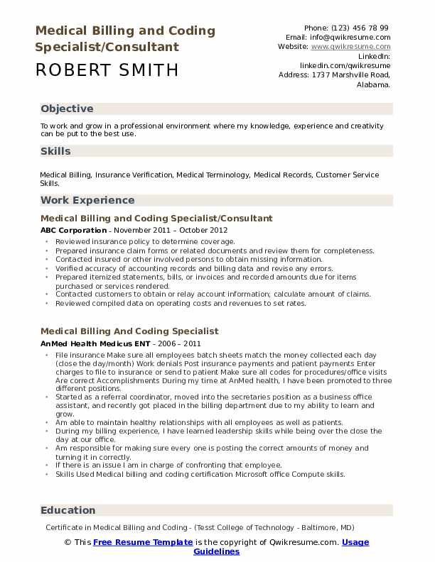 Medical Billing and Coding Specialist/Consultant Resume Model