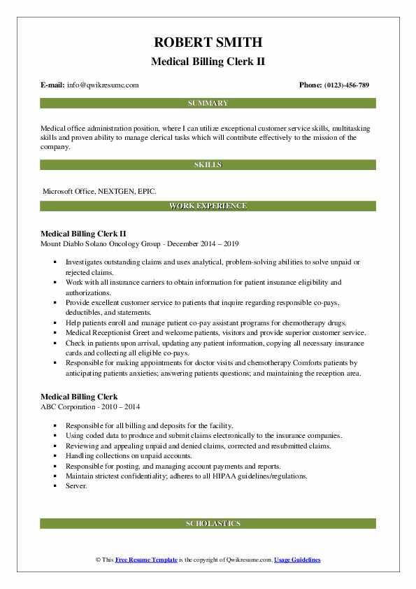 Medical Billing Clerk II Resume Sample
