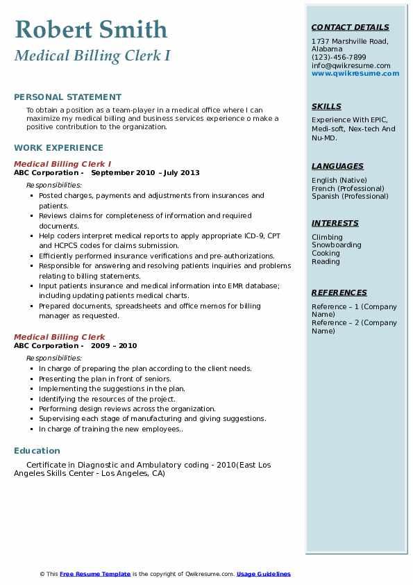 Medical Billing Clerk I Resume Sample