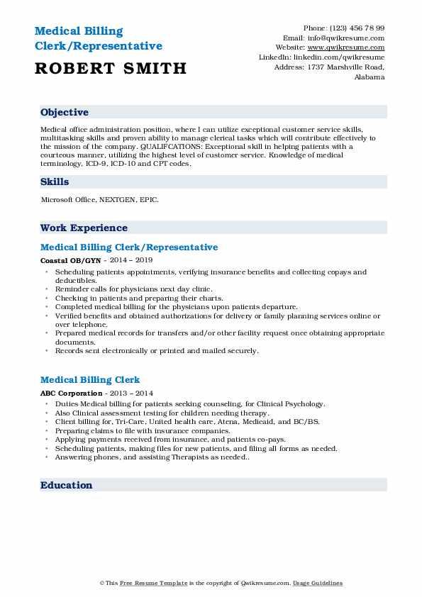 Medical Billing Clerk/Representative Resume Example