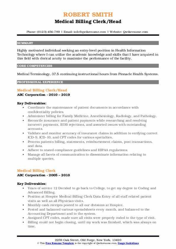Medical Billing Clerk/Head Resume Template