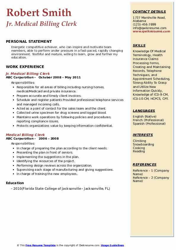 Medical Billing Clerk Resume Samples Qwikresume