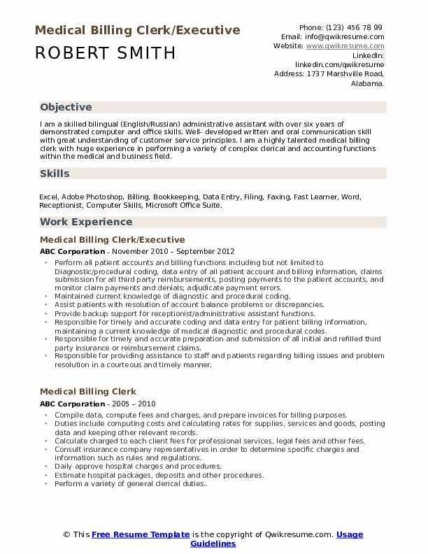 Medical Billing Clerk/Executive Resume Example