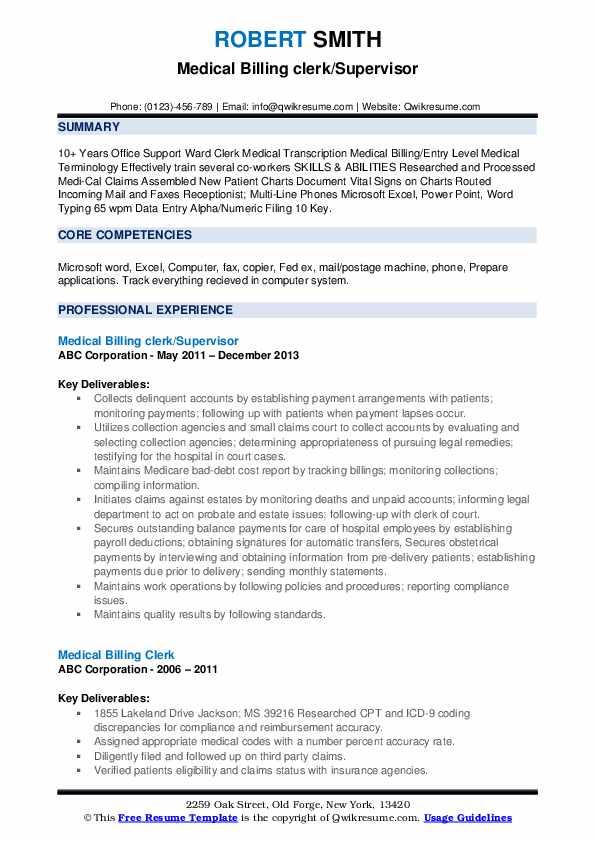 Medical Billing clerk/Supervisor Resume Model