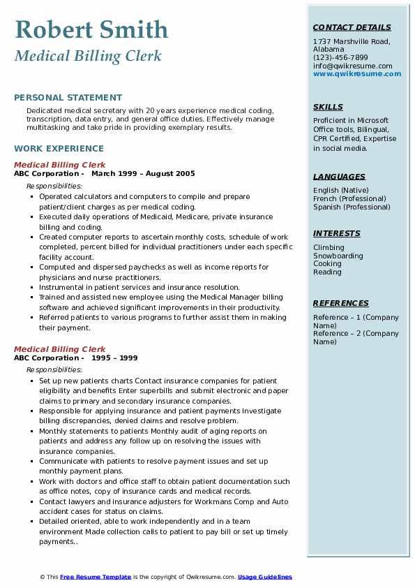 Medical Billing Clerk Resume example