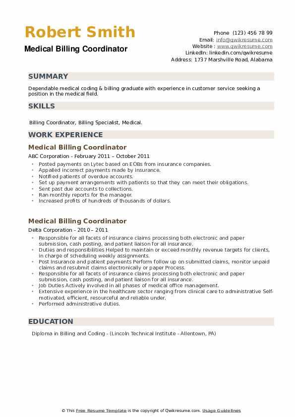 Medical Billing Coordinator Resume example