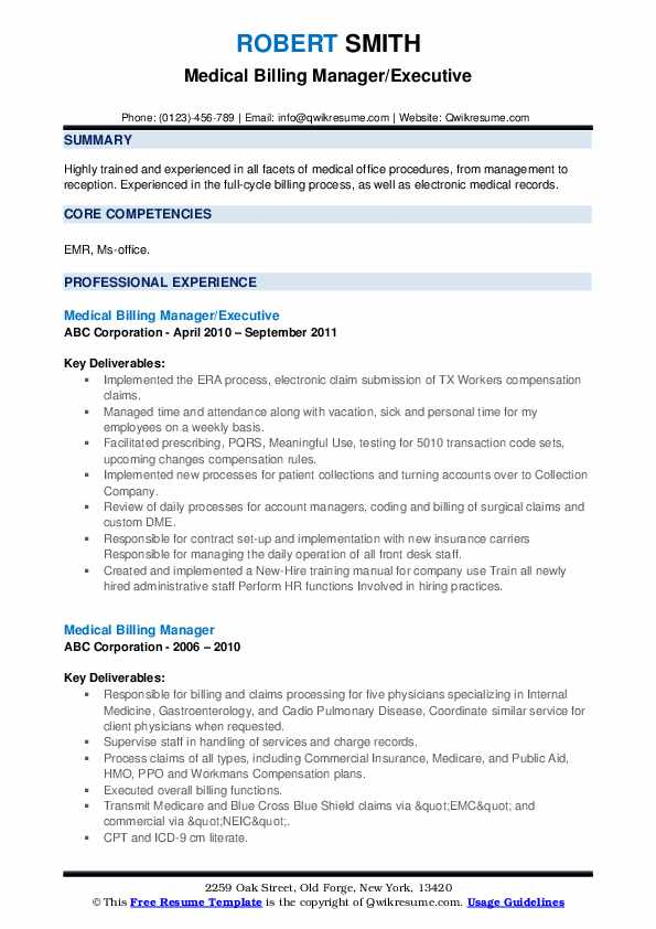 Medical Billing Manager/Executive Resume Example
