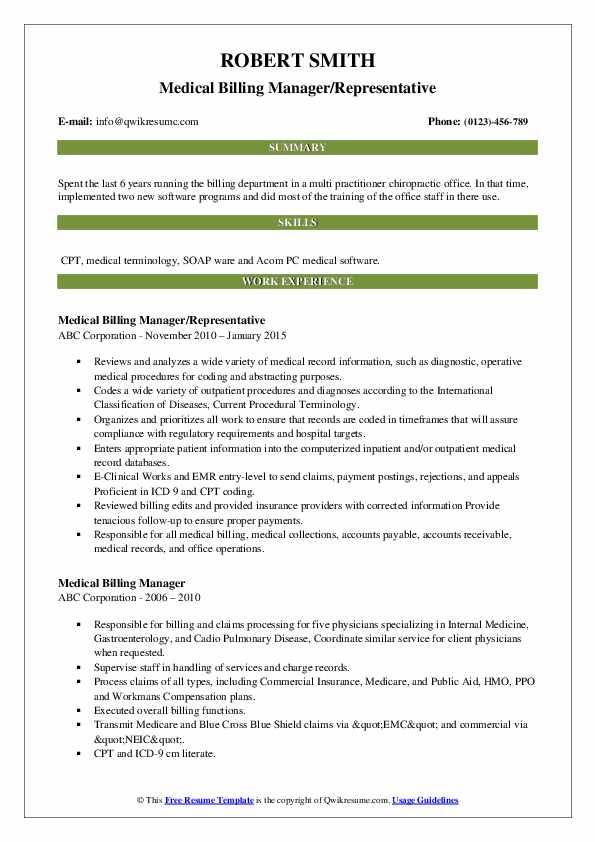 Medical Billing Manager/Representative Resume Model