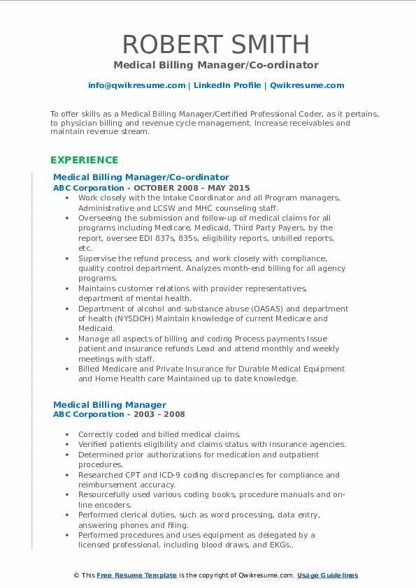 Medical Billing Manager/Co-ordinator Resume Model