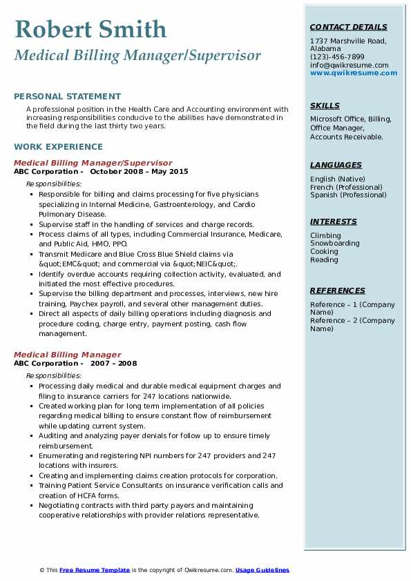 Medical Billing Manager/Supervisor Resume Model