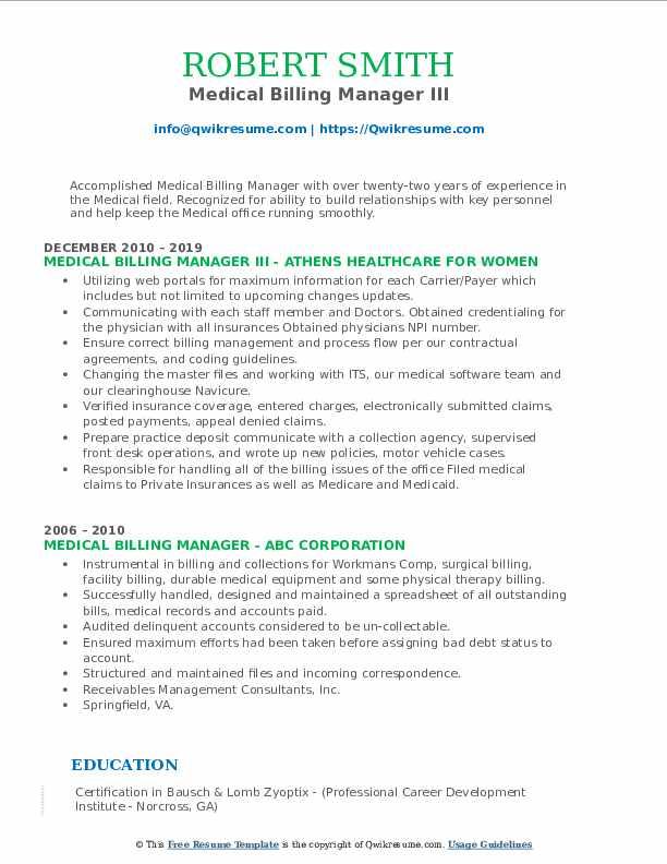 Medical Billing Manager III Resume Sample