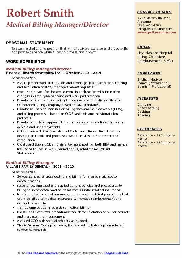 Medical Billing Manager/Director Resume Sample