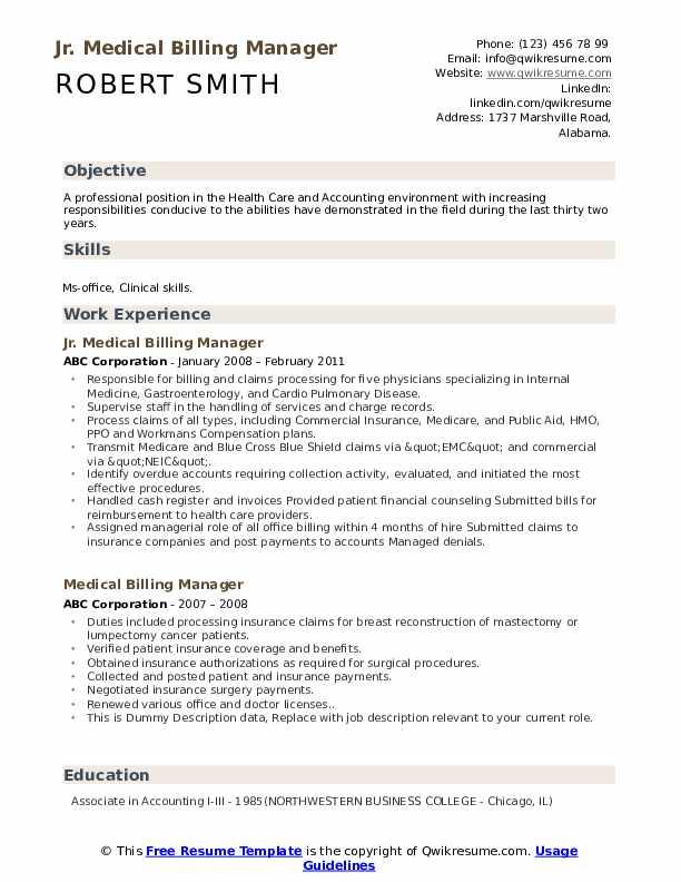 Jr. Medical Billing Manager Resume Format