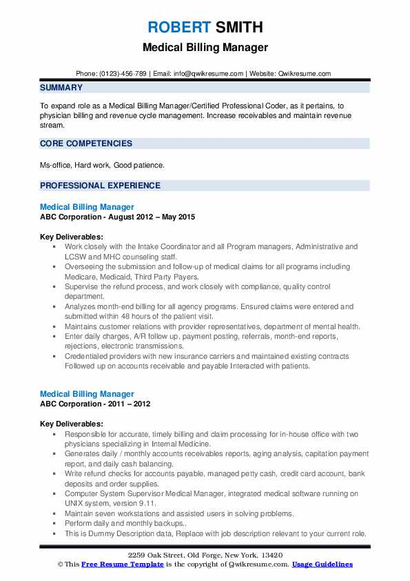 Medical Billing Manager Resume example