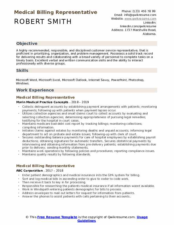 Medical Billing Representative Resume Template