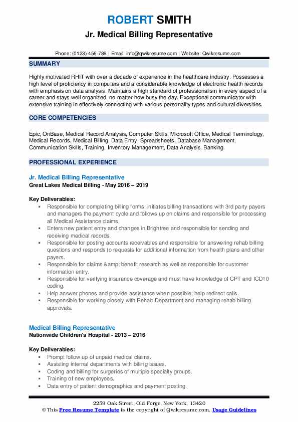 Jr. Medical Billing Representative Resume Model