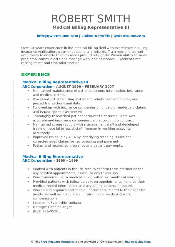 Medical Billing Representative III Resume Format