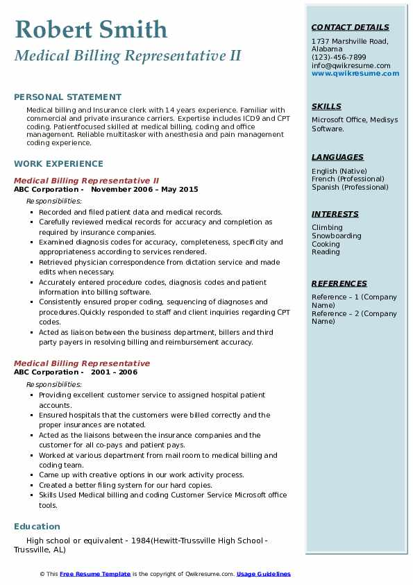 Medical Billing Representative II Resume Template