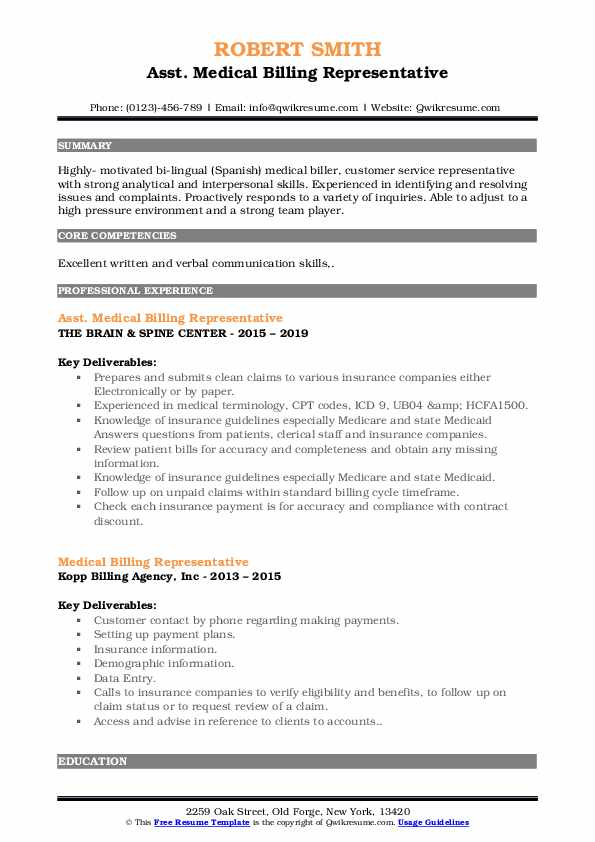 Asst. Medical Billing Representative Resume Model