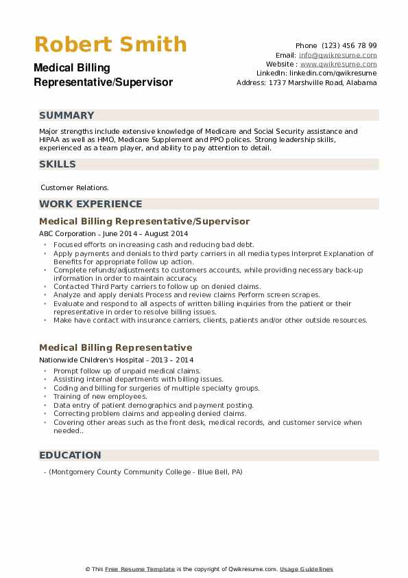 Medical Billing Representative/Supervisor Resume Example