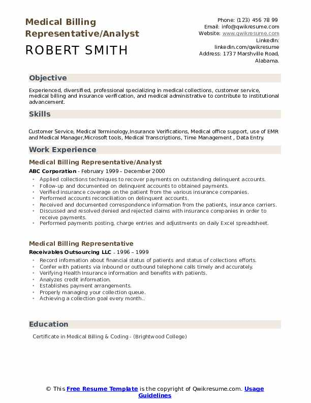 Medical Billing Representative/Analyst Resume Model
