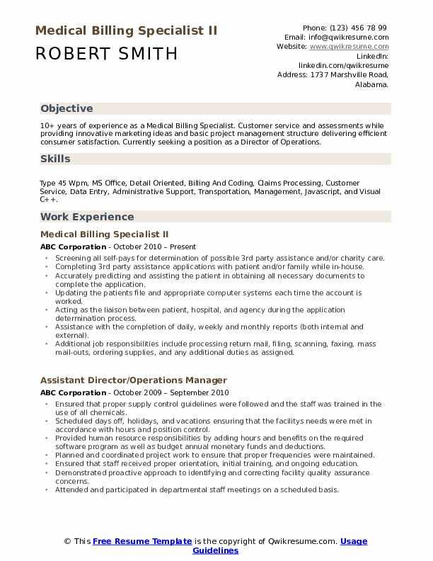 Medical Billing Specialist II Resume Format