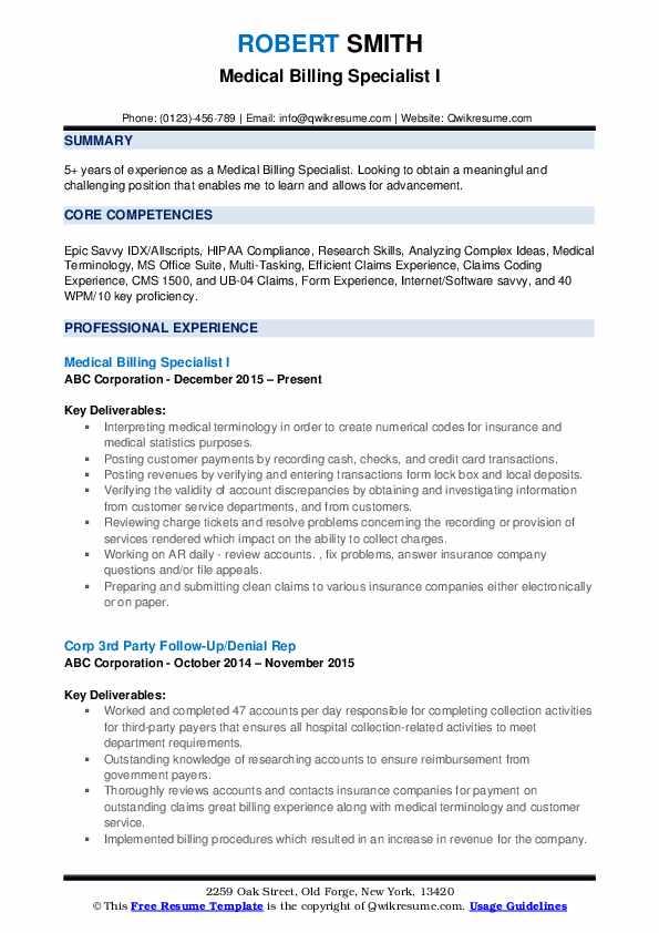 Medical Billing Specialist I Resume Format