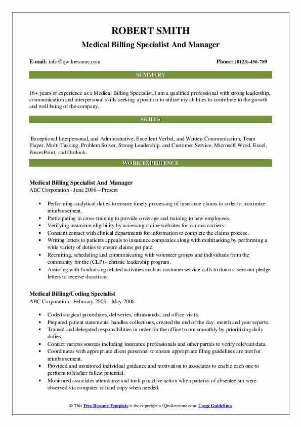 Medical Billing Specialist And Manager Resume Sample