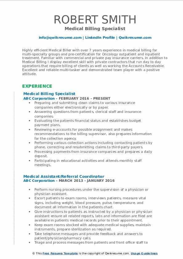 Medical Billing Specialist Resume Format