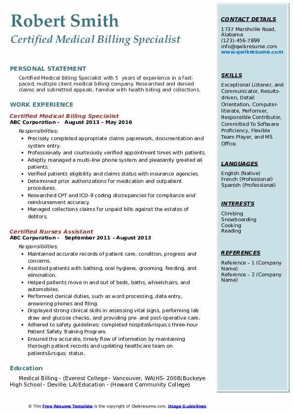 Certified Medical Billing Specialist Resume Sample