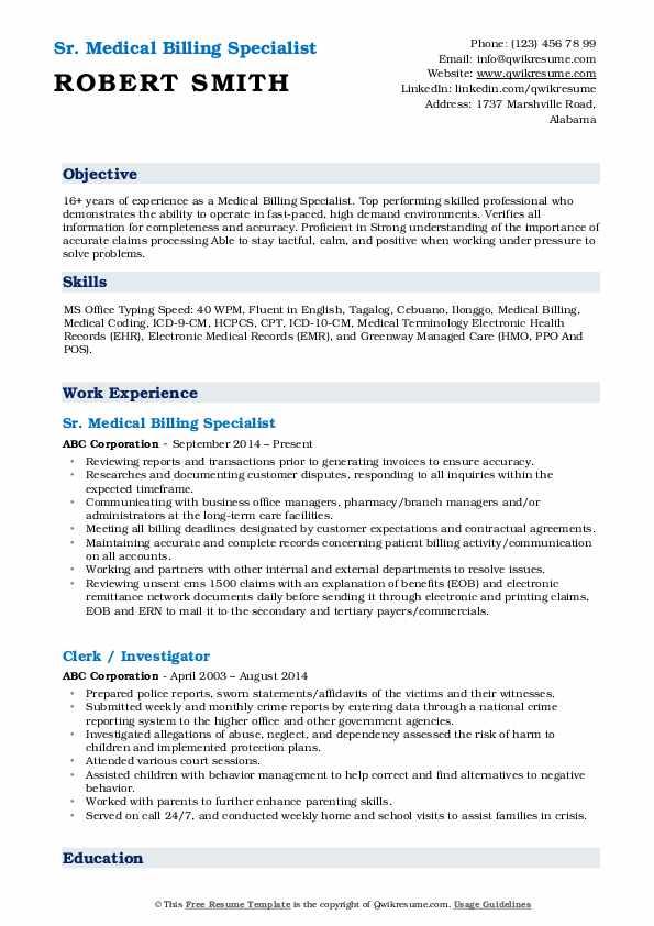 Sr. Medical Billing Specialist Resume Template